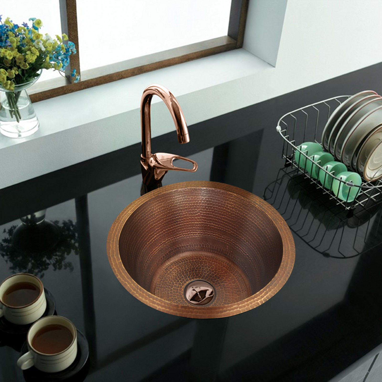 Details about Hand Hammered Copper Round Bar/ Prep/ Veggie/ Kitchen Sink 16\